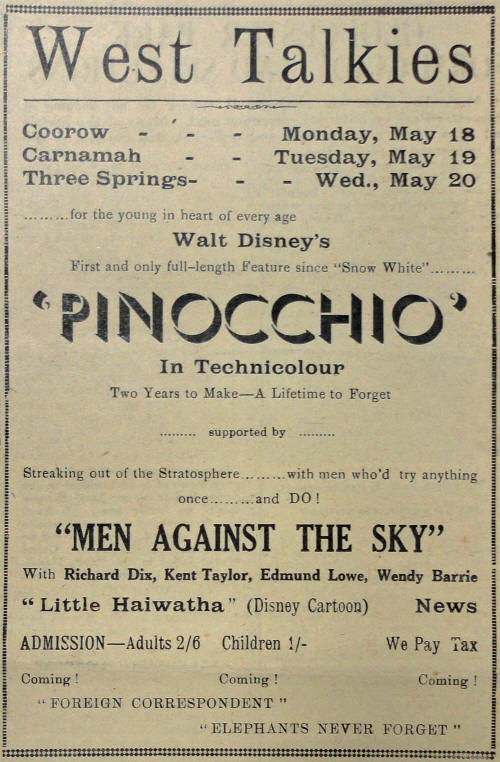 1942 advertisement for Pinocchio