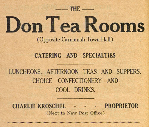 Advertisement for The Don Tea Rooms