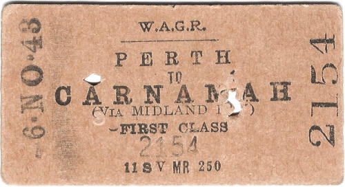 WAGR ticket Perth to Carnamah