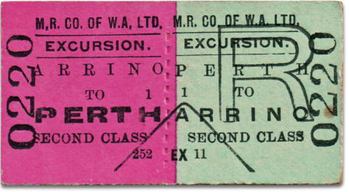 MRWA excursion ticket Arrino to Perth