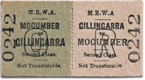 MRWA ticket Mogumber to Gillingarra