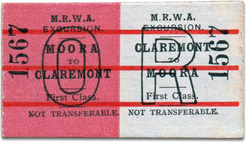 MRWA excursion ticket Moora to Claremont