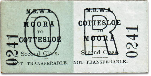 MRWA ticket Moora to Cottesloe