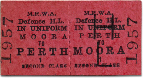 MRWA Defence in Uniform ticket Moora to Perth