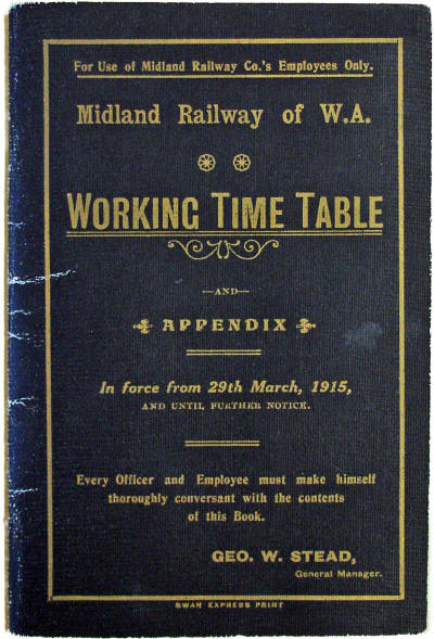 MRWA Working Timetable