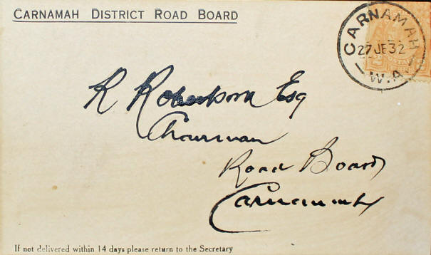 First Envelope from the Carnamah Post Office