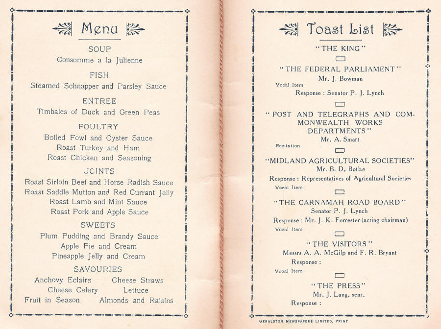Menu & Toast List from Opening of the Carnamah Post Office in 1932