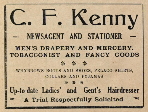 1939 Advertisement for Mrs Kenny's Store