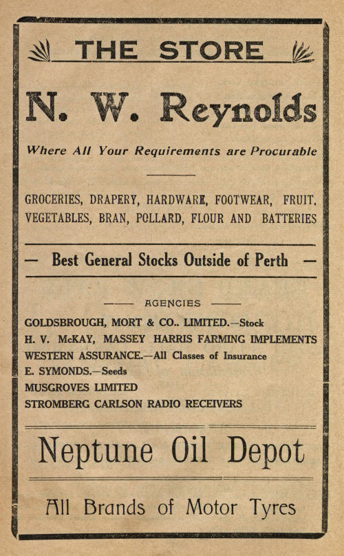 1939 Advertisement for N. W. Reynolds Store in Carnamah