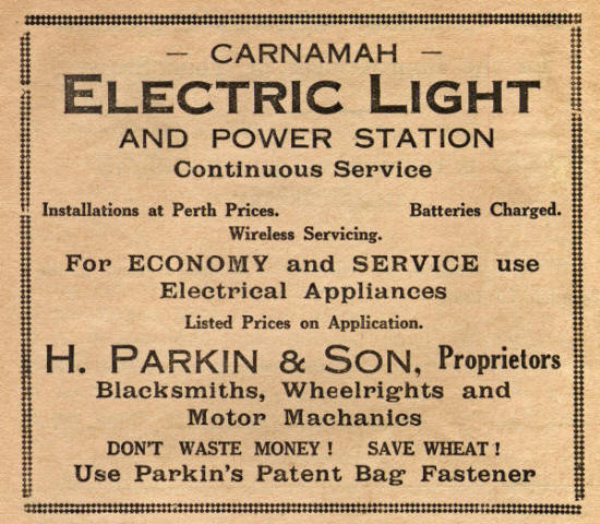 Advertisement for Carnamah Electric Light and Power Station