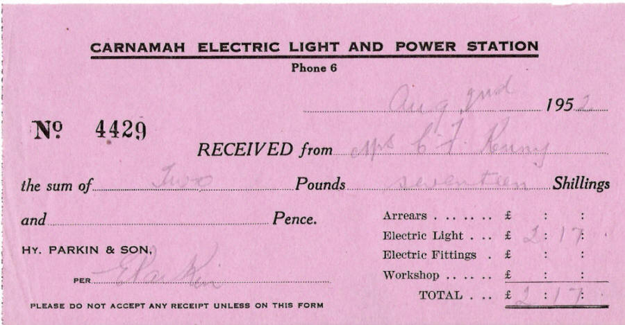 Receipt from the Carnamah Electric Light and Power Station