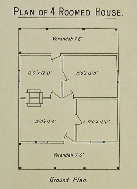 Plan of Ready Made Farm's Four Roomed House