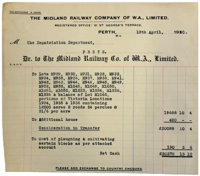 Invoice from the Midland Railway Company