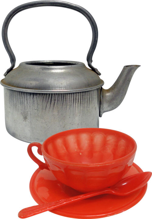 Metal Toy Kettle and Plastic Cup, Saucer and Spoon
