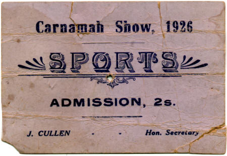 1926 ticket from the Carnamah Agricultural Show
