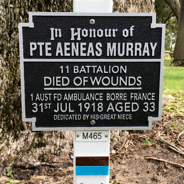 Aeneas Murray plaque at Kings Park